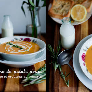 Cream of Sweet Potato and Lemon Zest Soup with Rosemary Croutons.
