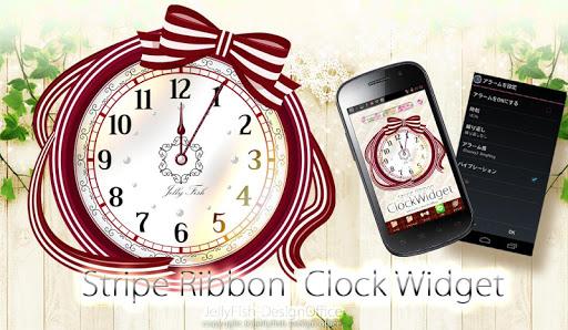 ストライプリボンの時計ウィジェット☆レッド