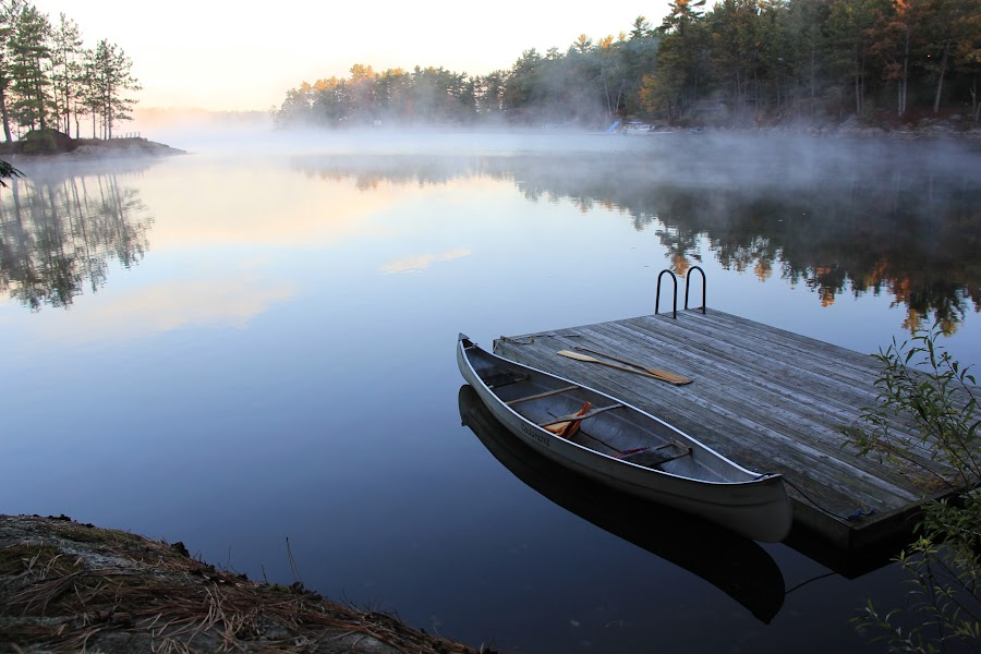 The Sunrise Canoe by Shari Fulmer - Novices Only Landscapes ( water scene, cottage, canoe )