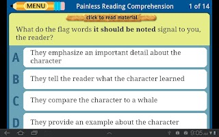 Screenshot of Painless Reading Comprehension