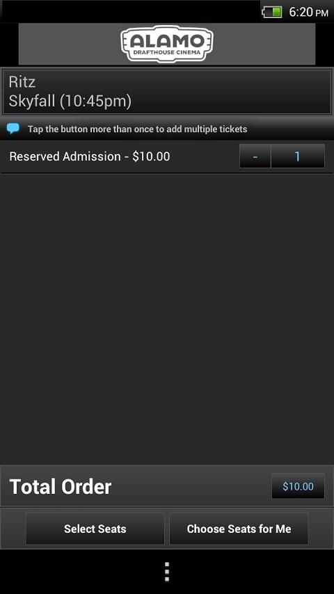 Alamo Drafthouse Ticketing App - screenshot