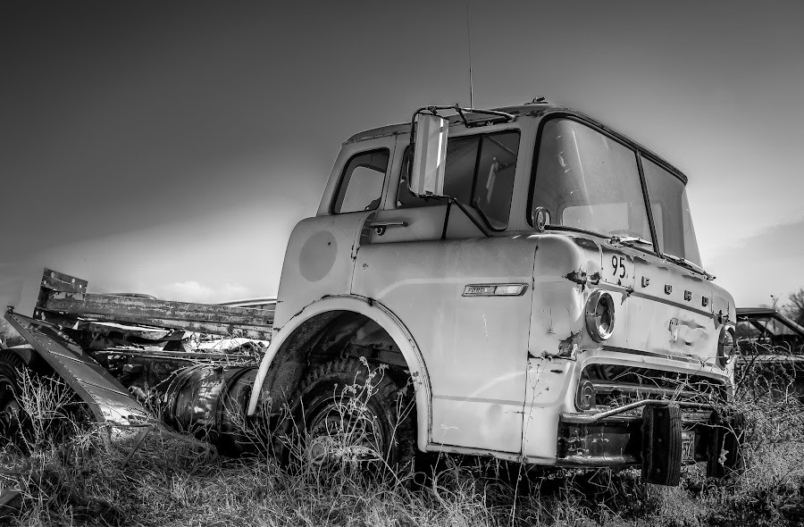 Yellow Ford by Ron Meyers - Black & White Objects & Still Life