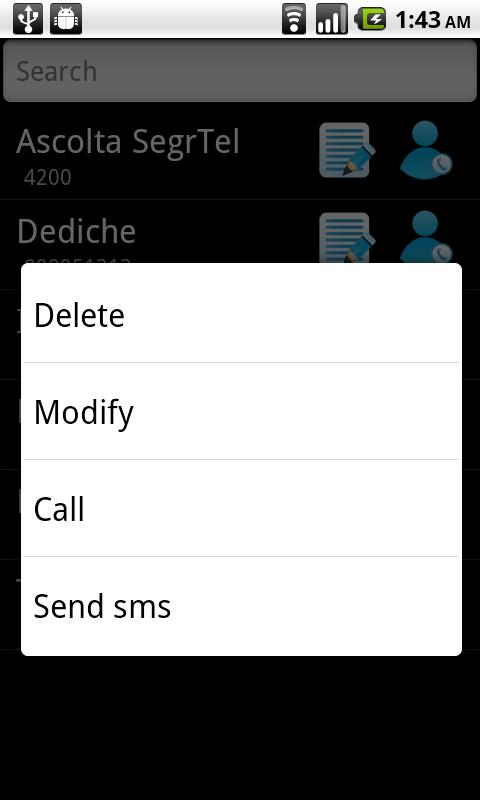 SIM contacts manager - screenshot