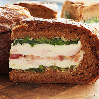 Turkey, Bacon, and Broccoli Rabe Shooter's-Style Sandwich