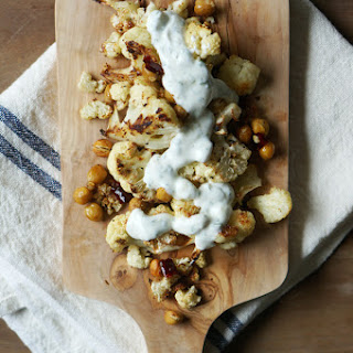 Spicy Roast Cauliflower and Chickpeas.
