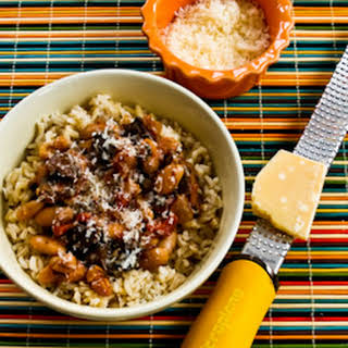 Mushroom, White Bean, and Tomato Stew with Parmesan.