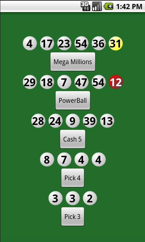 Lottery Numbers - screenshot