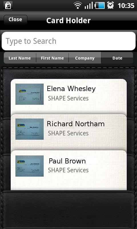 Business Card Reader - screenshot