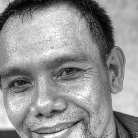 Smiling of Man by Gia Gusrianto - Black & White Portraits & People (  )