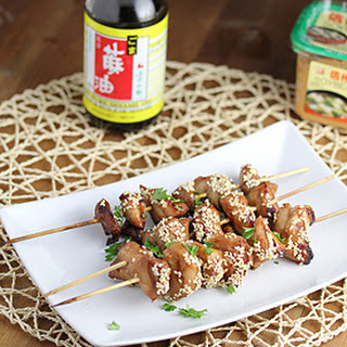 Miso & Sesame Grilled Chicken Kebabs.