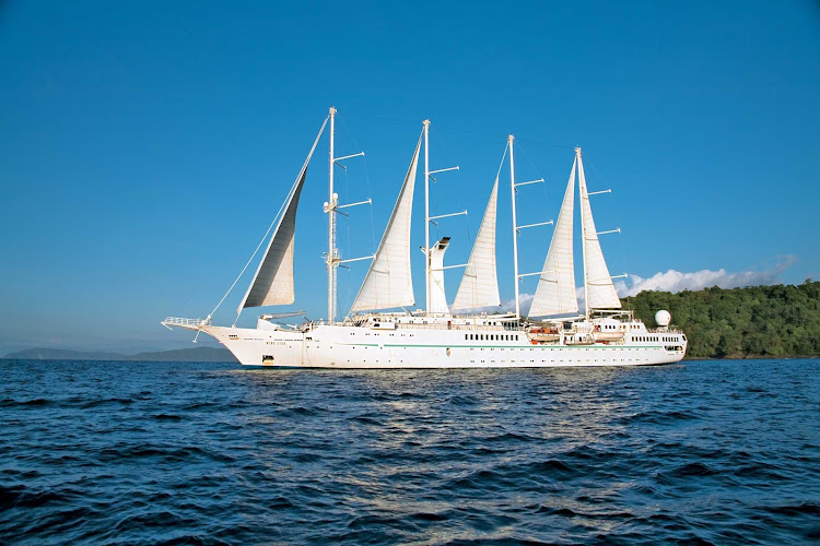 Wind Star, the namesake of the Windstar fleet, is large enough to provide luxury amenities yet small enough to tuck into small harbors and  coves larger ships can't reach.