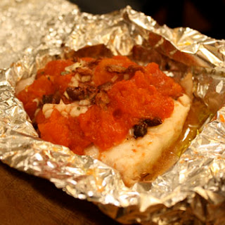 Red Snapper with Tomatoes and Olives Baked in Foil