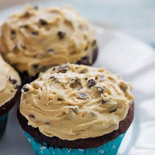 Chocolate Cupcakes with Cream Cheese Cookie Dough Frosting.