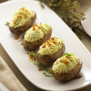 Twice Baked Potatoes with Garlic and Herb Cheese