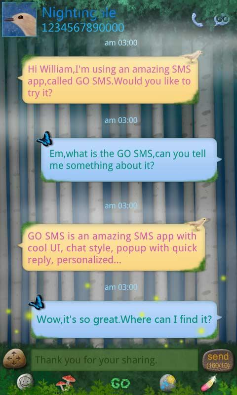 GO SMS Pro ForestSong SuperThe - screenshot