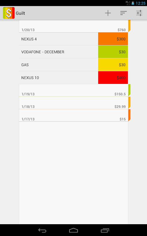 Guilt - Expense Manager- screenshot