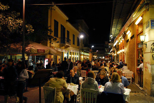 Nightime dining in the Plaka, Athens, Greece.