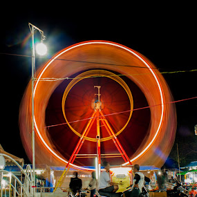 circle of bianglala by Juanito Sedayu - City,  Street & Park  Night