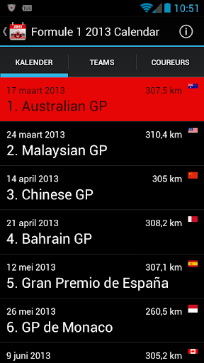 Racing Calendar 2013