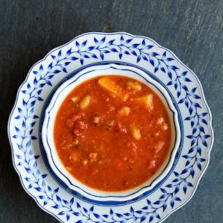 Tomato, White Bean, Bacon Soup