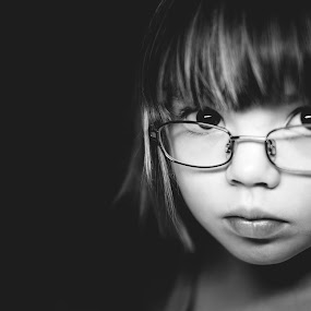 Charlotte by Jim Brokensha - Black & White Portraits & People ( child, fuji xe1, glasses, black and white, ice light, portraits, portrait,  )