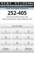 Screenshot of Instant Area Code