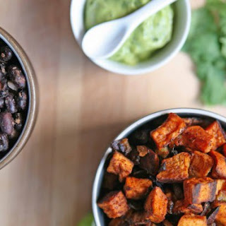 Sweet Potato and Black Bean Tacos with  Avocado Crema