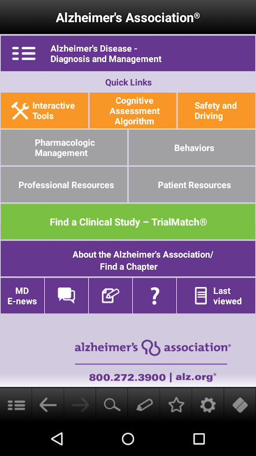 Alzheimer's Disease Pocketcard- screenshot
