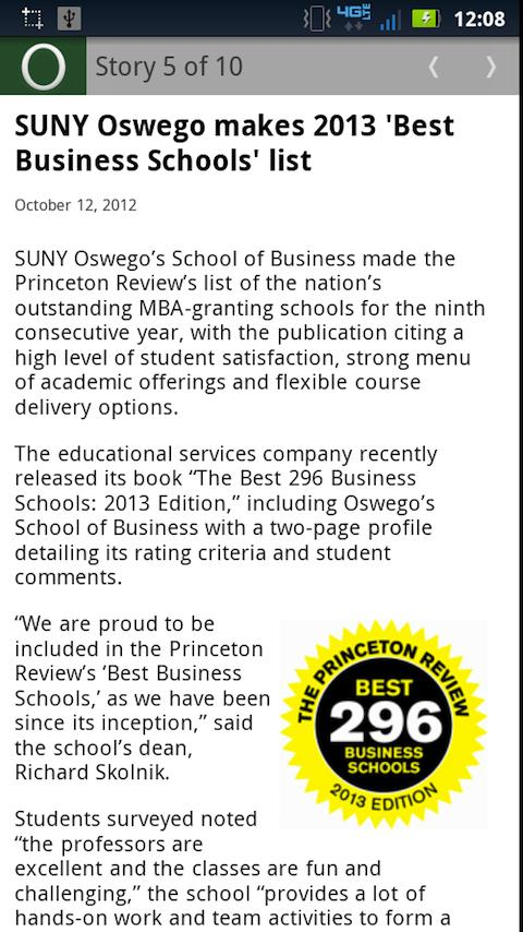 SUNY Oswego Mobile - screenshot