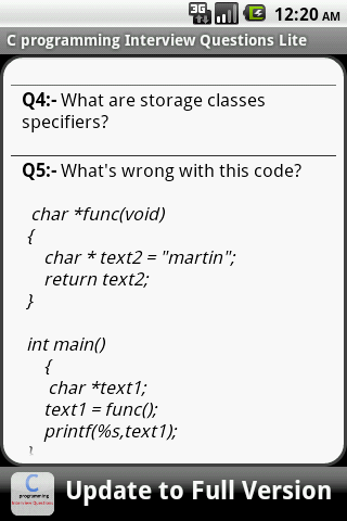 C Programming FAQS Lite- screenshot