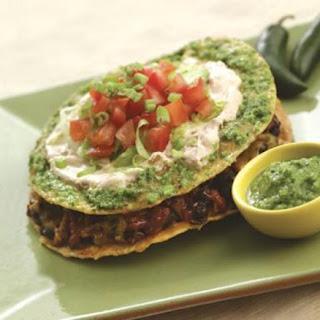 Double-Decker Chorizo Tostadas with Cilantro-Jalapeño Pesto