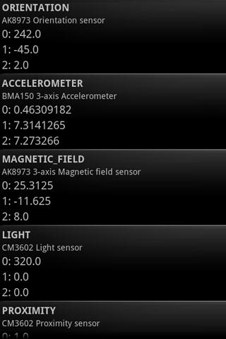 Sensor Test- screenshot