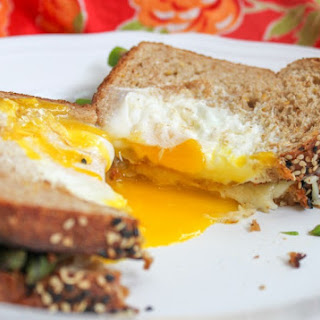 Egg in a Basket Grilled Cheese with Asparagus