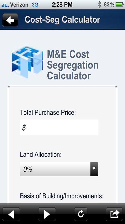 M&E Cost Segregation- screenshot