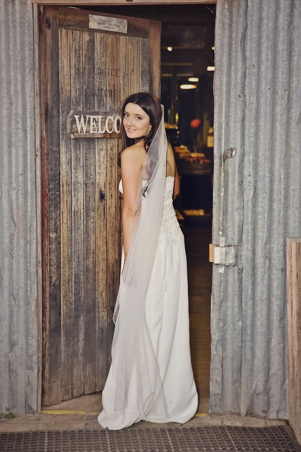 'Welcome' by Alan Evans - Wedding Bride ( wedding photography, doorway, wagga wagga, wedding day, wedding, wedding veil, aj photography, wedding dress, wagga wedding photographer, welcome, bride, marriage,  )