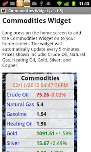 Commodities Widget