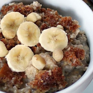 Slow Cooker, Banana & Coconut Milk Steel-Cut Oatmeal.