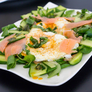 Brunch Salad with Fried Eggs and Smoked Salmon.