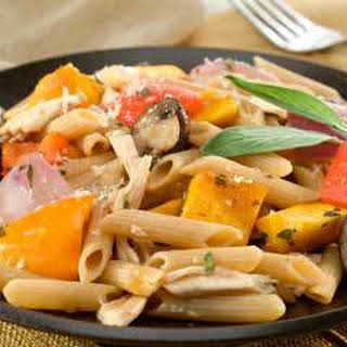 Pasta With Roasted Harvest Vegetables & Chicken.