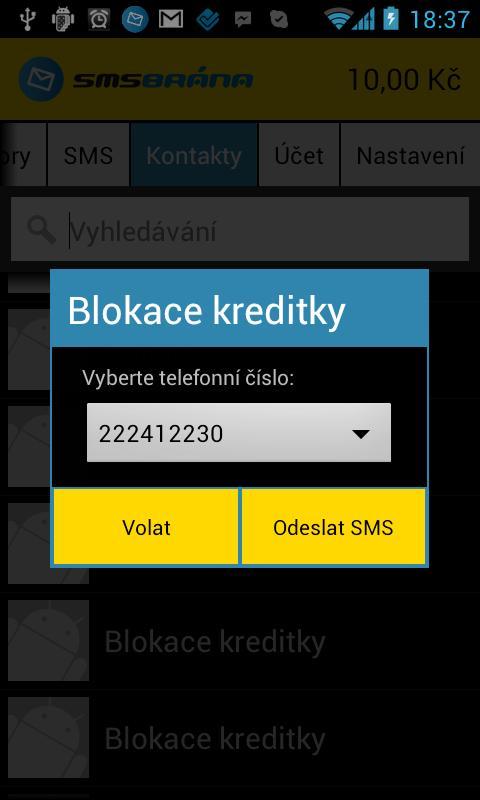 SMSBrána.cz- screenshot