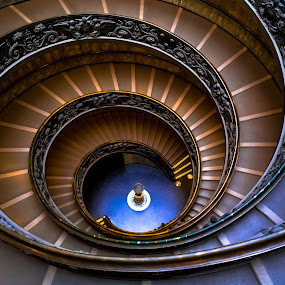Vatican Staircase by Stephen Bridger - Buildings & Architecture Public & Historical ( vatican city, spiral staircase, spiral, vatican, museum, travel, roma, stairs, italia, rome, vatican museum, staircase, italy, travel photography )