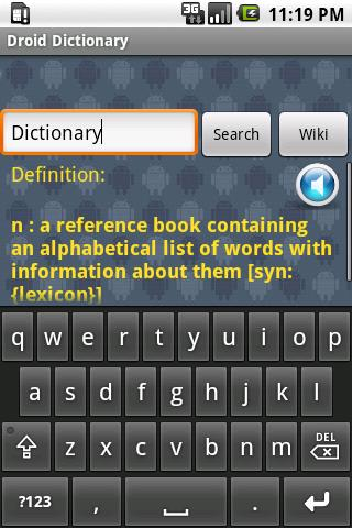 Droid Dictionary /w Wiki - screenshot