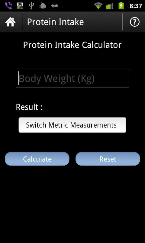 Fitness Calculator - screenshot