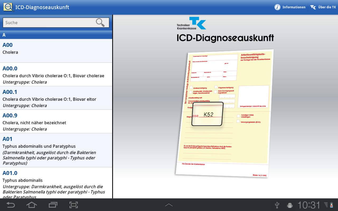 ICD-10 Diagnoseauskunft - screenshot