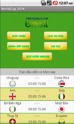 Lich thi dau World Cup 2014