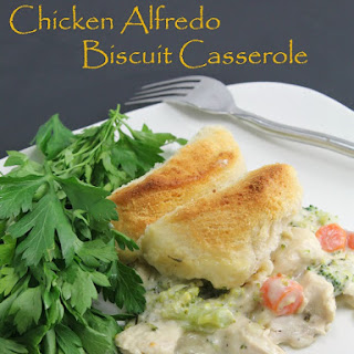 One Pot Chicken Alfredo Biscuit Casserole
