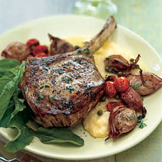 Veal Chops with Roasted Shallots, Arugula, and Soft Polenta.