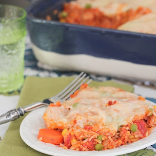Swiss N' Chicken Vegetable Marinara Rice Bake.