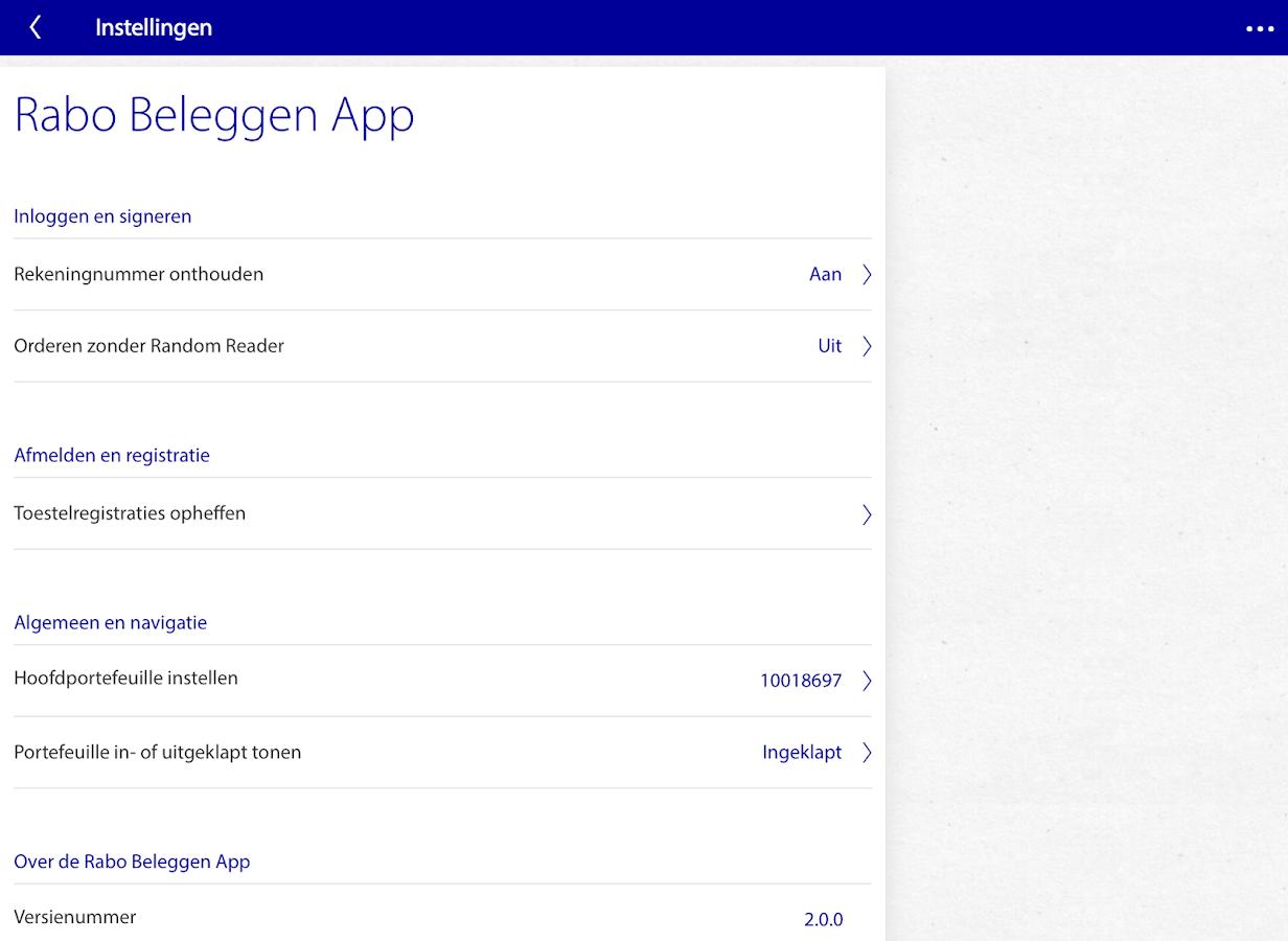 Rabo Beleggen - screenshot