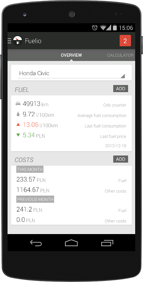 Fuelio: Fuel log & costs - screenshot